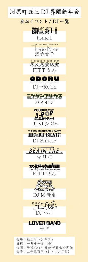 1/11(金)河原町丑三DJ界隈新年会